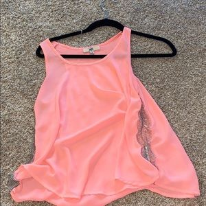 Bright pink tank with see threw beaded sides!